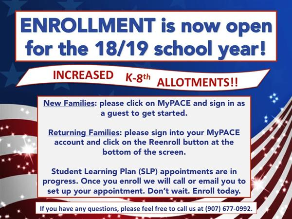 Online Enrollment is Open! K-8 Allotment has Increased!
