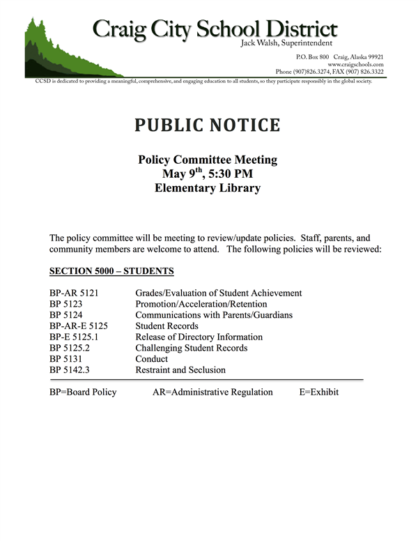 Public Notice - Policy Committee Meeting